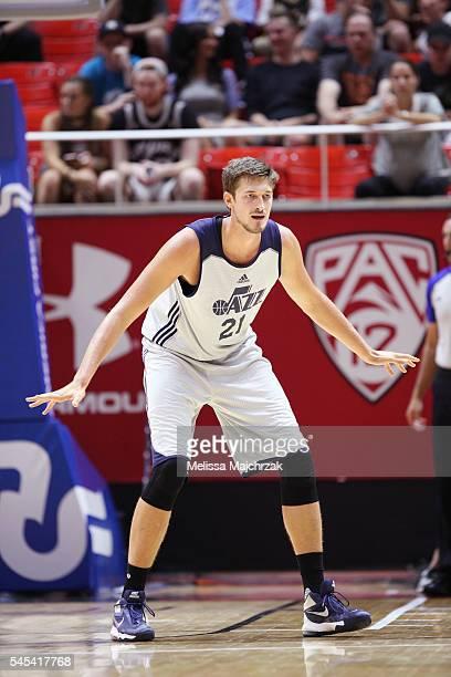 Tibor Pleiss of Utah Jazz plays defense against the Philadelphia 76ers on July 7 2016 during the 2016 Utah Summer League at vivintSmartHome Arena in...