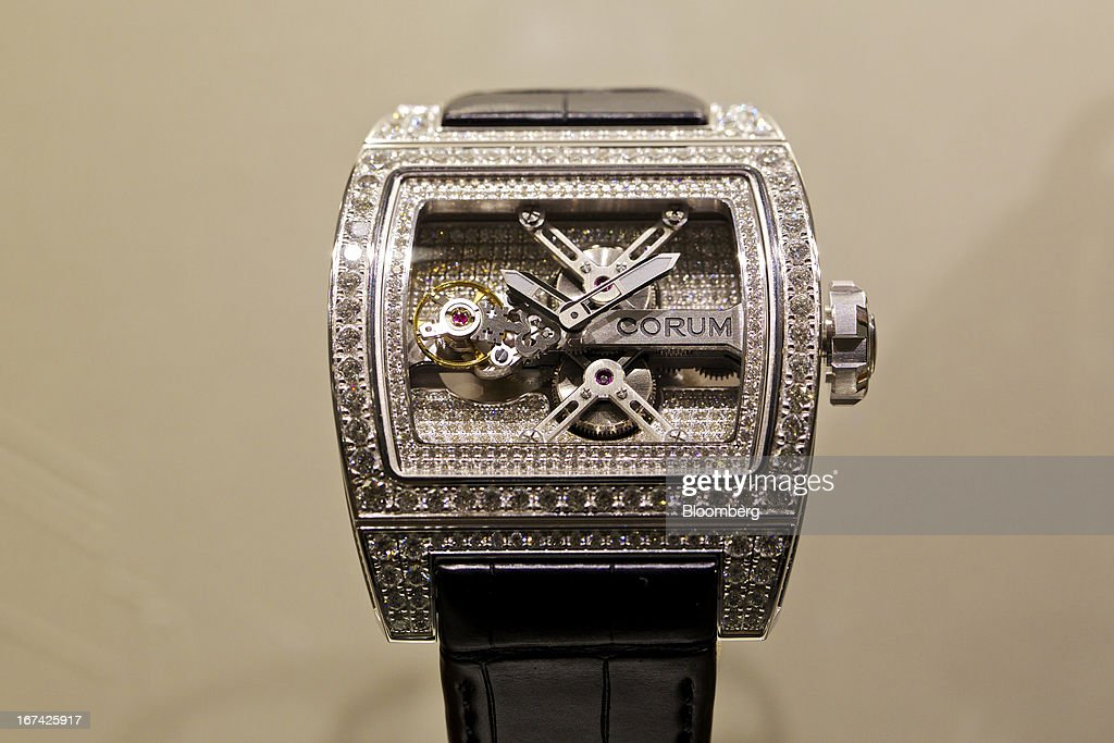 A Ti-Bridge Tourbillon wristwatch, manufactured by Montres Corum, sits on display at the Baselworld watch fair in Basel, Switzerland, on Thursday, April 25, 2013. The annual fair attracts 2,000 companies from the watch, jewelry and gem industries to show their new wares to more than 100,000 visitors. Photographer: Gianluca Colla/Bloomberg via Getty Images