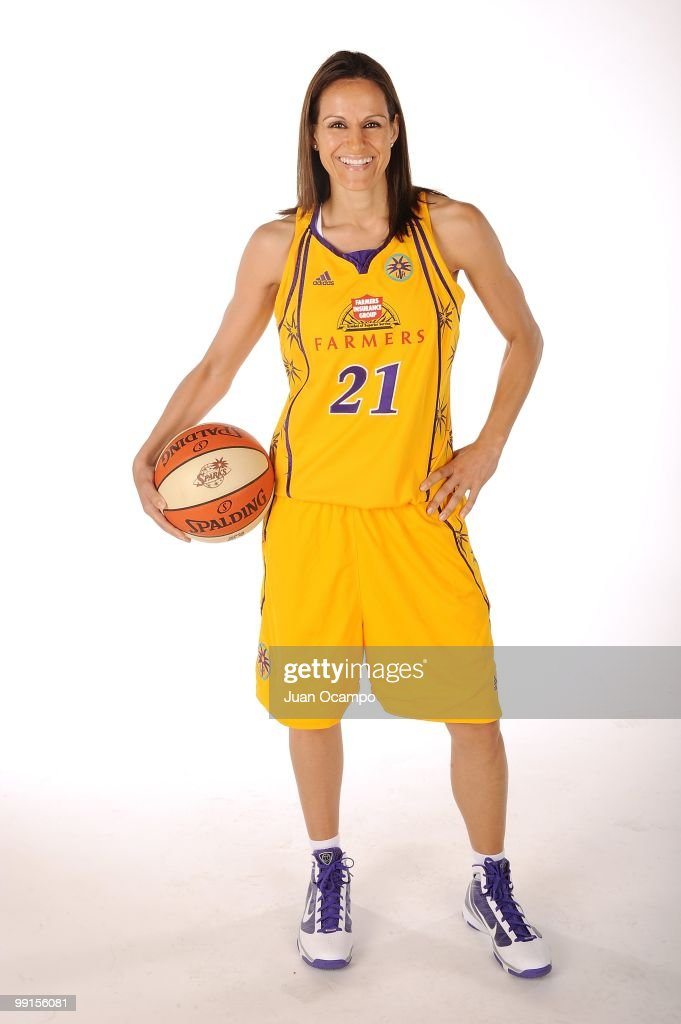 Ticha Penicheiro of the Los Angeles Sparks poses for a portrait during WNBA Media Day on May 10 2010 at St Mary's Academy in Inglewood California...