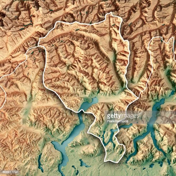 Ticino Schweiz 3D Render topographische Karte Kantonsgrenze