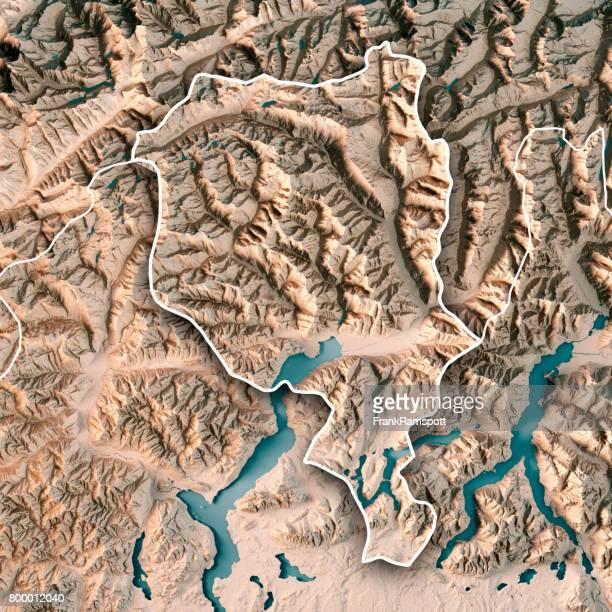 Ticino Schweiz 3D Render topographische Karte Neutral Kantonsgrenze