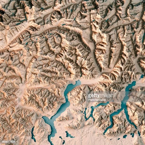 Ticino Kanton der Schweiz 3D Render topographische Karte Neutral