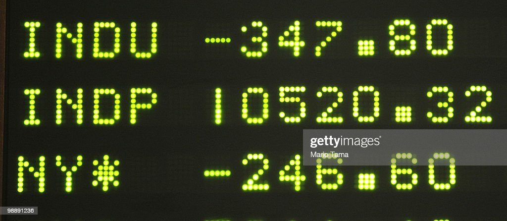 A ticker is seen showing Dow down 347 points at the New York Stock Exchange minutes after the closing bell May 6, 2010 in New York City. The Dow plunged almost 1000 points before closing down 347 on Greek debt fears.