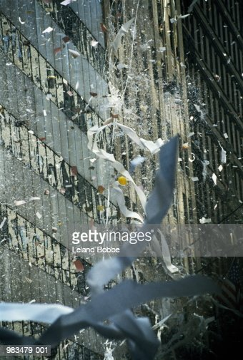 Ticker tape fluttering from buildings, New York City, USA : Stock Photo