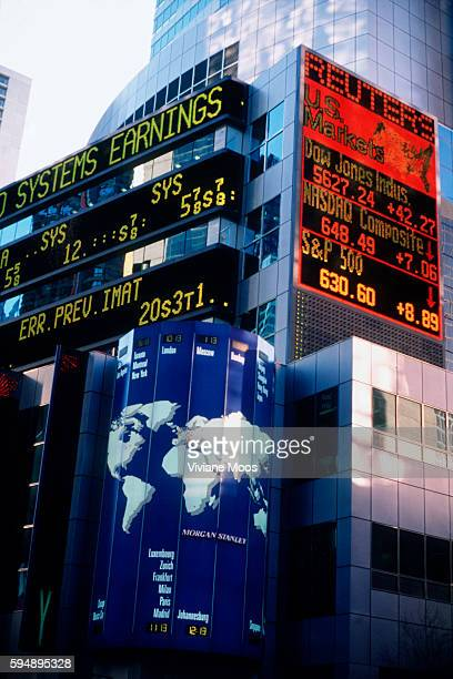 Tickers and stcok listing displays on the Morgan Stanley Building near Times Square