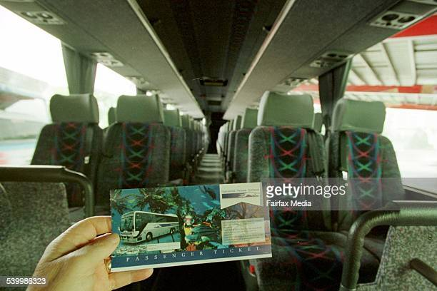 A ticket and the interior of a Greyhound coach at the Roma Street bus terminal in Brisbane Queensland 14 January 2000 AFR Picture by ROBERT ROUGH