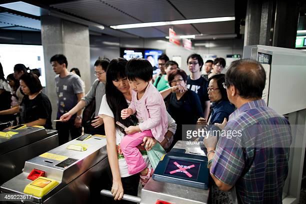 Ticket gate in subway station Hong Kong