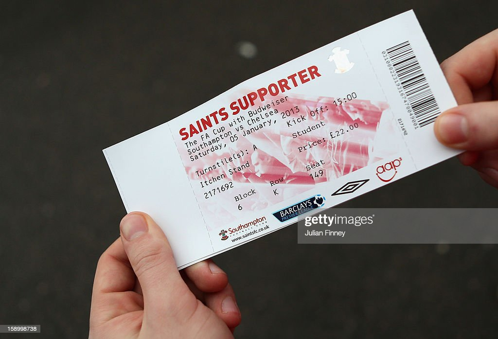 A ticket is seen before the FA Cup Third Round match between Southampton and Chelsea at St Mary's Stadium on January 5, 2013 in Southampton, England.