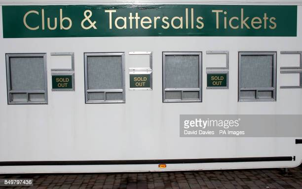 Ticket office signs show 'Sold Out' for the Cheltenham Gold Cup Day on Day Four of the 2013 Cheltenham Festival at Cheltenham Racecourse...