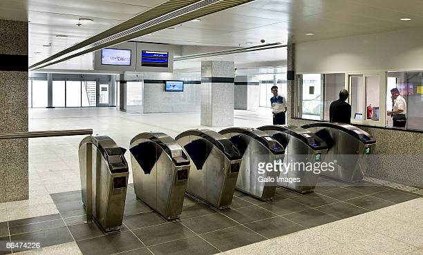 Ticket readers stand as the Palm Monorail opens for business ferrying passengers between Gateway Towers and Atlantis stations May 6 2008 in Dubai UAE...