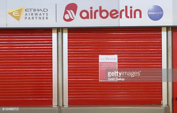 A ticket sales desk of German airliner Air Berlin stands shuttered at Tegel Airport on September 26 2016 in Berlin Germany According to media reports...