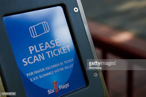 A ticket scanner for rides stands at Six Flags Magic Mountain in Valencia California US on Monday April 20 2015 Six Flags Entertainment Corp is...