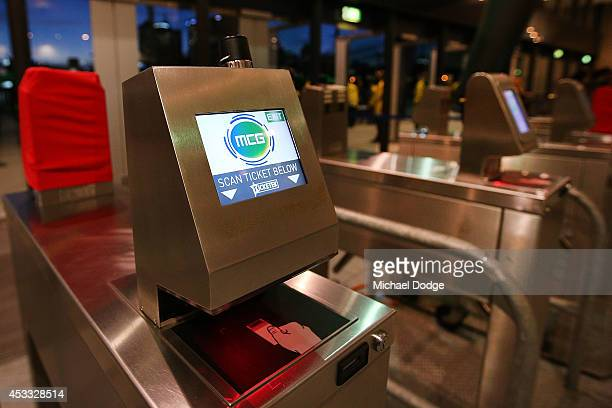 A ticket scanning machine is seen during the round 20 AFL match between the Richmond Tigers and the Essendon Bombers at Melbourne Cricket Ground on...