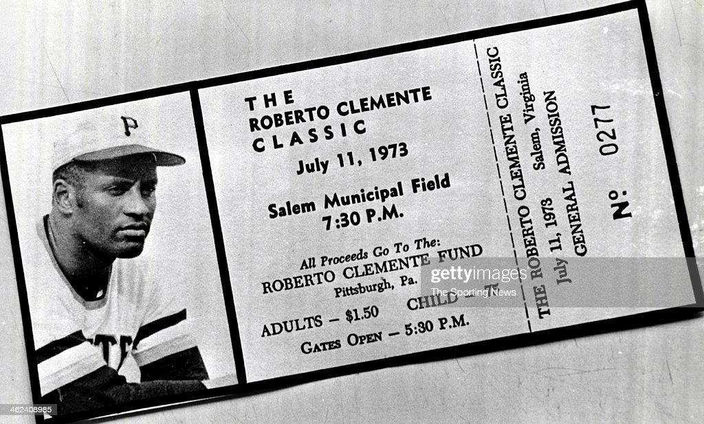 A ticket to the <a gi-track='captionPersonalityLinkClicked' href=/galleries/search?phrase=Roberto+Clemente&family=editorial&specificpeople=206918 ng-click='$event.stopPropagation()'>Roberto Clemente</a> Classic on July 11, 1973 at Salem Municipal Field in Pittsburgh, Pennsylvania.