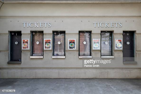 Ticket windows are closed before the Baltimore Orioles play the Chicago White Sox at an empty Oriole Park at Camden Yards on April 29 2015 in...