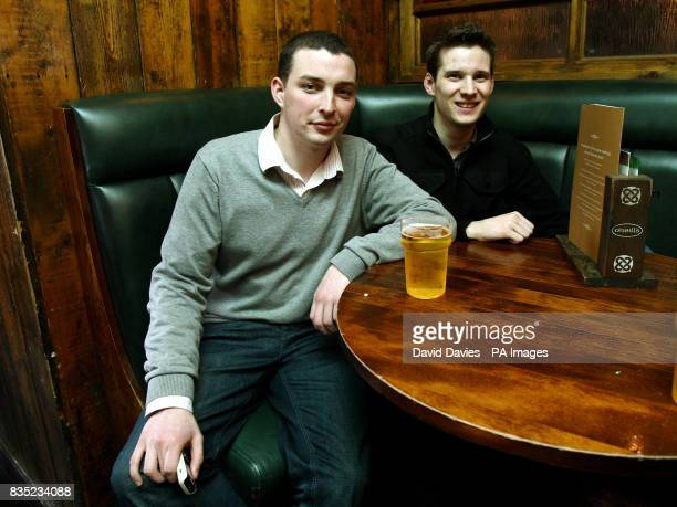 Ticketless Ireland fans Shane Murphy and Stephen Jones from Cork start their search for a match ticket in a bar in the centre of Cardiff ahead of the...