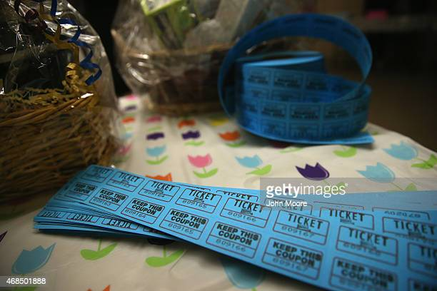 Tickets await a raffle at the 'Senior Citizens Senior Prom' on April 2 2015 in the Staten Island borough of New York City Some 100 senior citizens...