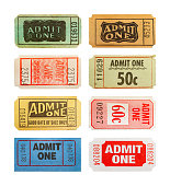 Selection Of Differnet Old Admit One Tickets Isolated on White Background.