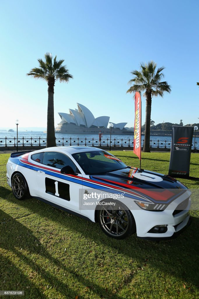 A Tickford Bathurst 77 Mustang is seen during the Bathurst 1000 Legends and Heroes Media Call in The Rocks on August 23, 2017 in Sydney, Australia.