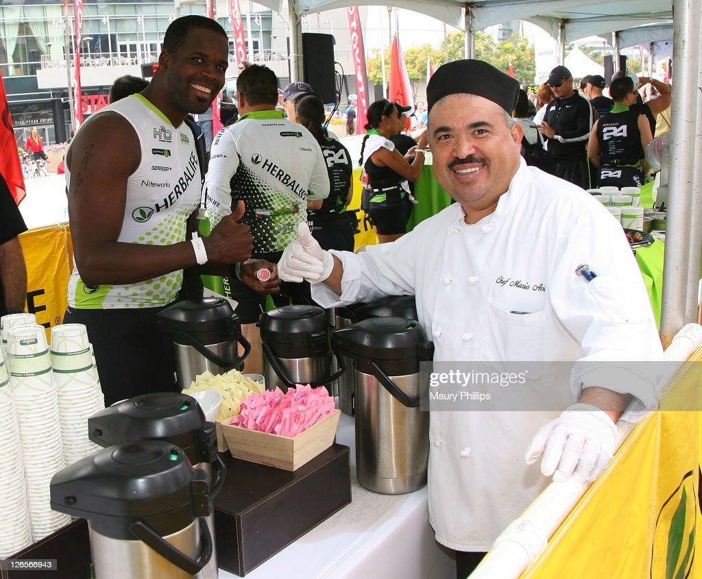 Tico Clark and chef Mario attend The LA Triathlon presented by Herbalife on September 25, 2011 in Los Angeles, California.