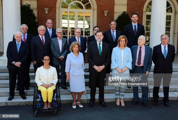 Tico Medina Teresa Perales Maria Teresa Campos Mariano Rajoy Fatima Banez attend receives the Golden Medal of Merit In Work during a ceremony at...