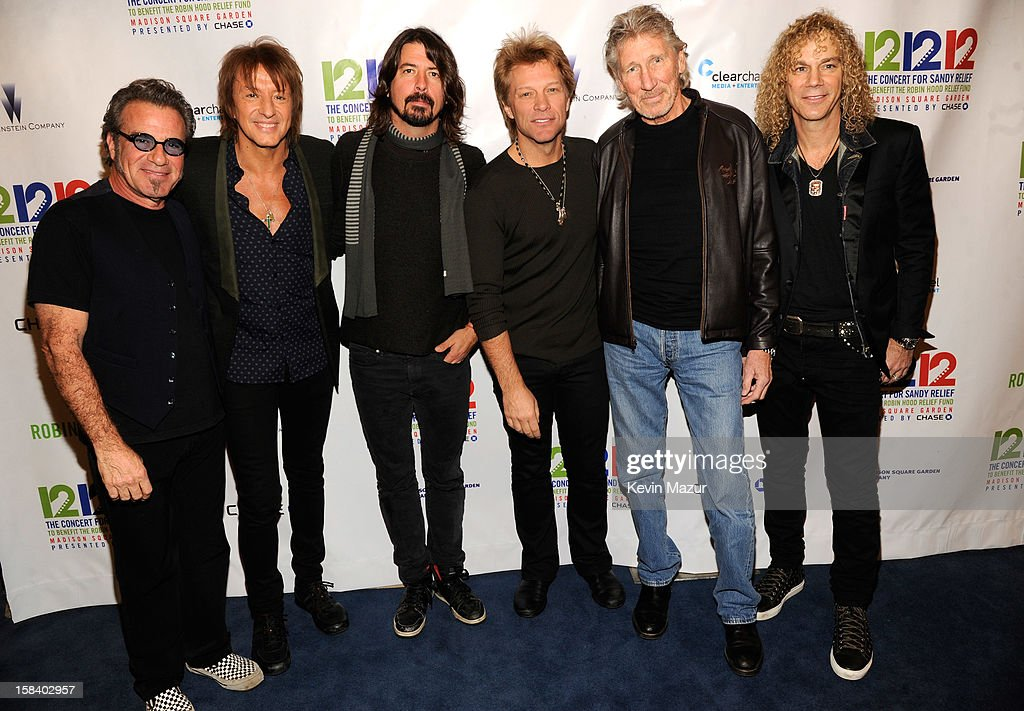 Tico Torres, Richie Sambora, Dave Grohl, Jon Bon Jovi, Roger Waters and David Bryan backstage during '12-12-12' a concert benefiting The Robin Hood Relief Fund to aid the victims of Hurricane Sandy presented by Clear Channel Media & Entertainment, The Madison Square Garden Company and The Weinstein Company>> at Madison Square Garden on December 12, 2012 in New York City.