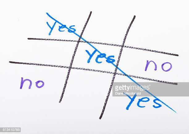 A Tic-Tac-Toe game shows a YES win