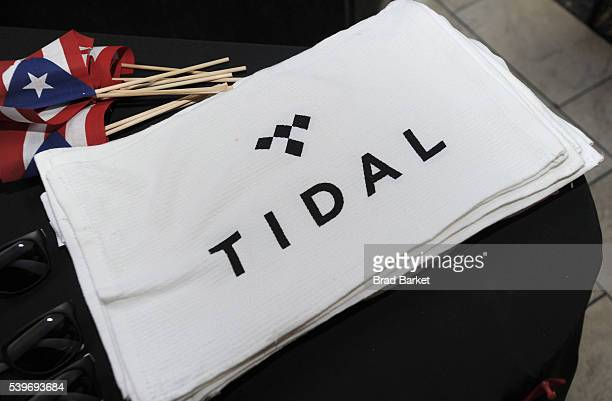 Tidal products are on display as Yandel celebrates the Puerto Rican Day Parade at China Grill on June 12 2016 in New York City