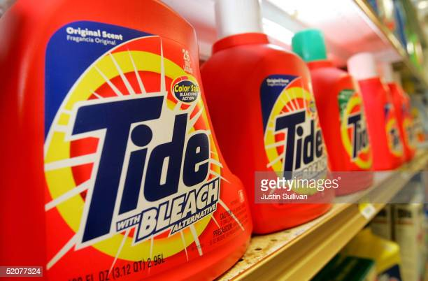 Tide laundry detergent made by Procter Gamble Co is seen on display at the Arguello Supermarket January 28 2005 in San Francisco Procter Gamble Co...