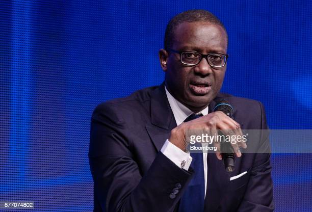 Tidjane Thiam chief executive officer of Credit Suisse Group AG speaks at the Rendezvous de Bercy economic debate at the French Ministry of Economy...