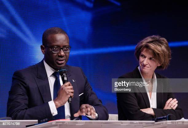 Tidjane Thiam chief executive officer of Credit Suisse Group AG left speaks as Isabelle Kocher chief executive officer of Engie SA looks on at the...