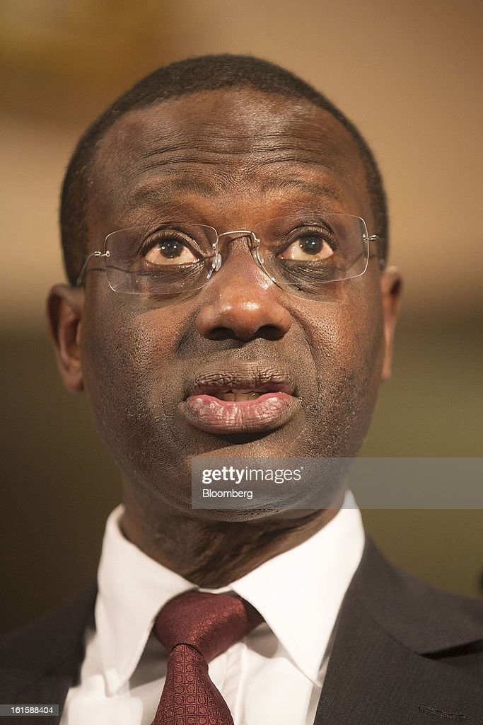 Tidjane Thiam, chief executive officer of Prudential Plc, speaks during the 'Insurance and Government: Today, Tomorrow and Beyond' summit in London, U.K., on Tuesday, Feb. 12, 2013. The Financial Stability Board, an international panel of regulators that set global standards, plans to determine which insurers are too big to fail in April before stricter supervision is enacted. Photographer: Simon Dawson/Bloomberg via Getty Images