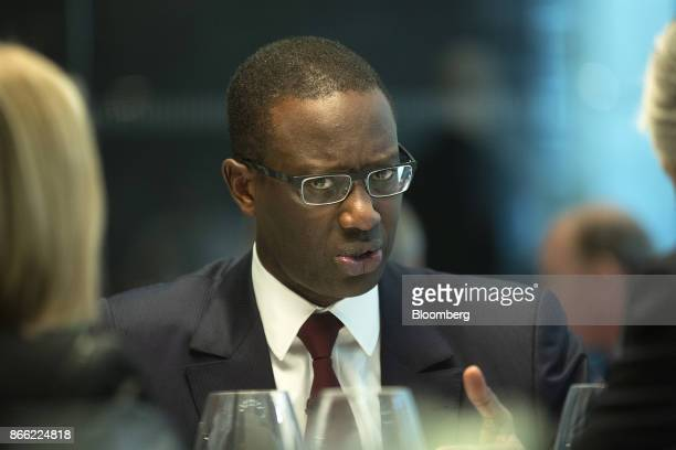 Tidjane Thiam chief executive officer of Prudential Plc speaks during a Bloomberg Television interview on the 'Leaders Lunch' show in London UK on...