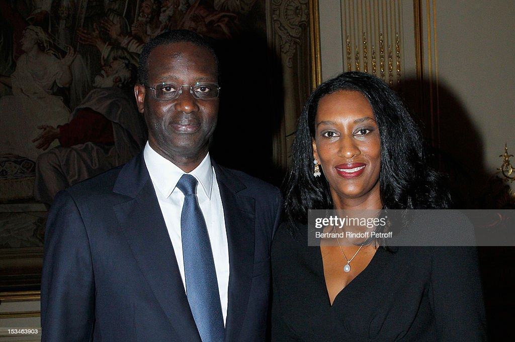 Tidjane Thiam President of the ABE and former politician Chief Executive of Prudential with his wife Anette at Cercle Interallie on October 5, 2012 in Paris, France.