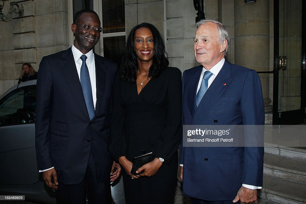 Tidjane Thiam President of the ABE and former politician Chief Executive of Prudential with his wife Anette and Jean Claude Trichet at Cercle Interallie on October 5, 2012 in Paris, France.