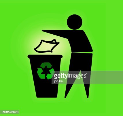 Tidyman throwing waste in recycling bin : Stock Photo