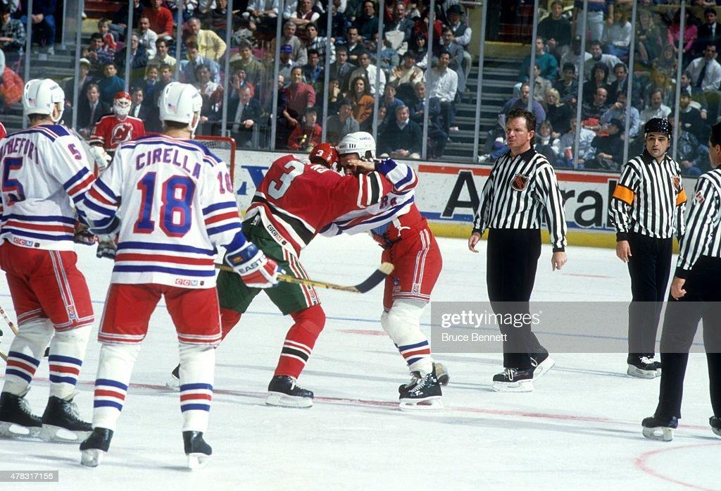 a2b132d1635 ... Tie Domi 28 of the New York Rangers fights with Ken Daneyko 3 of ...