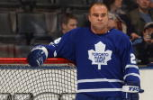 Tie Domi of Toronto Maple Leafs looks on during warm up prior to the game against the the Ottawa Senators at Air Canada Centre on March 27 2004 in...