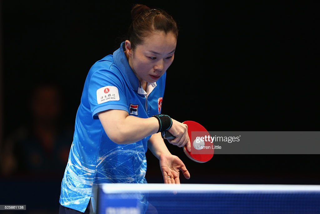 Tie Yana of Hong Kong in action during the Women's Singles Challenge against Yang Haeun of Korea during day two of the Nakheel Table Tennis Asian Cup 2016 at Dubai World Trade Centre on April 29, 2016 in Dubai, United Arab Emirates.