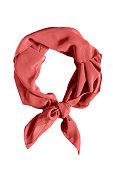 Red silk tied neckerchief isolated over white