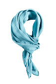 Blue silk tied neckerchief on white background