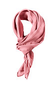 Pink silk tied neckerchief isolated over white