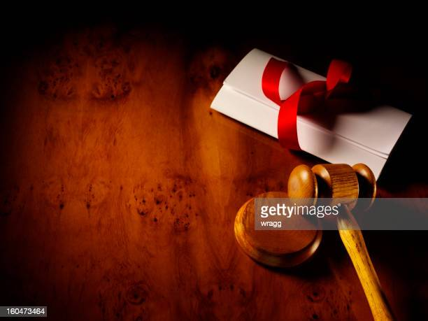 Tied Papers with Gavel and Ribbon