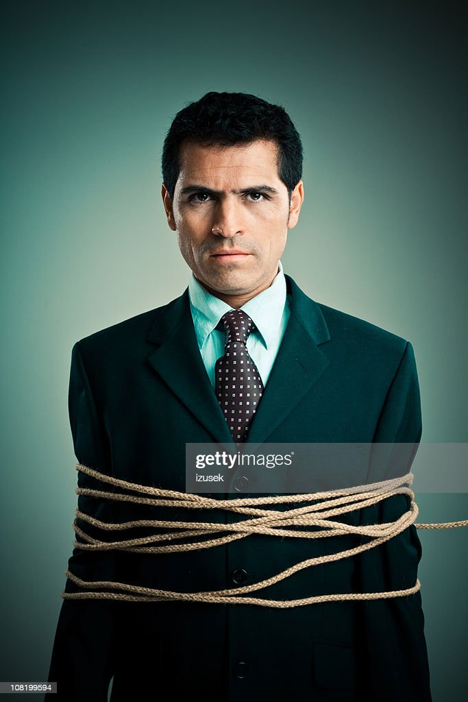 Tied up businessman : Stock Photo