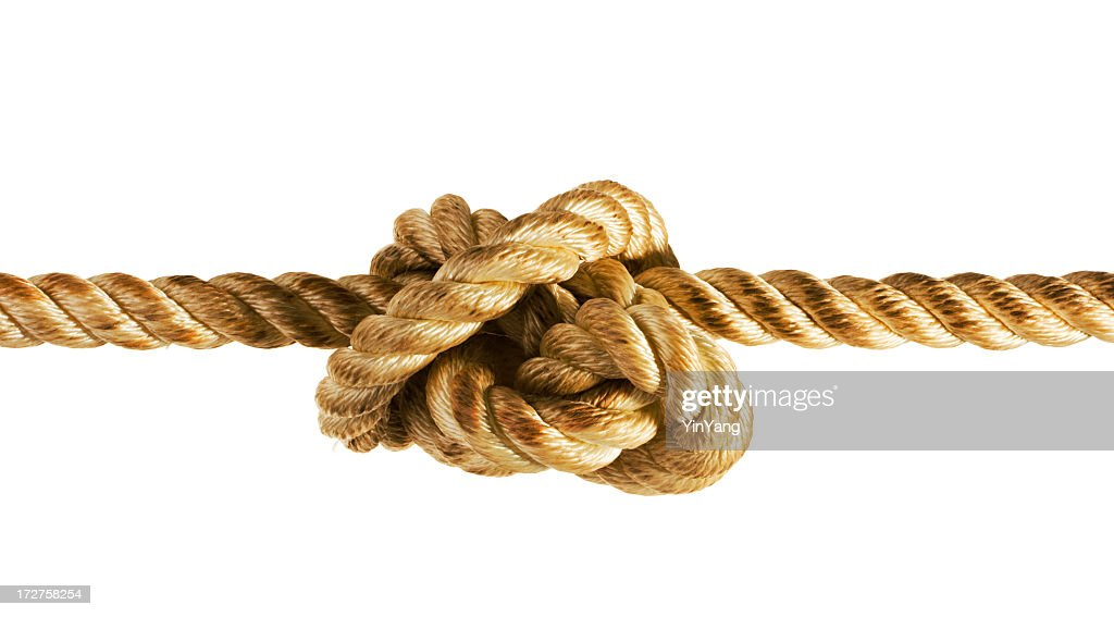 Tied Up Stress Knot of Rope or String, Pulled Tight