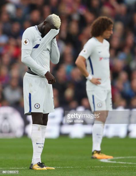 Tiemoue Bakayoko and David Luiz of Chelsea look dejected during the Premier League match between Crystal Palace and Chelsea at Selhurst Park on...