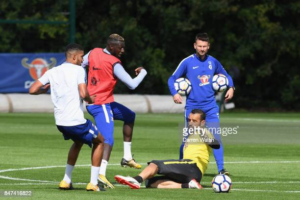Tiemoue Bakayoko and Eduardo of Chelsea during a training session at Chelsea Training Ground on September 15 2017 in Cobham England