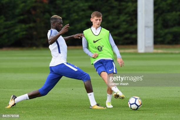 Tiemoue Bakayoko and Kyle Scott of Chelsea during a training session at Chelsea Training Ground on September 4 2017 in Cobham England