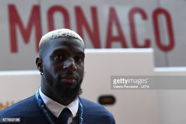 Tiemoue Bakayoko arrives at his dressing room prior to the UEFA Champions League Semi Final first leg match between AS Monaco v Juventus at Stade...