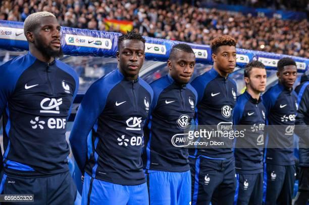 Tiemoue Bakayoko Benjamin Mendy Blaise Matuidi Presnel Kimpembe Sebastien Corchia and Ousmane Dembele of France during the friendly match France and...